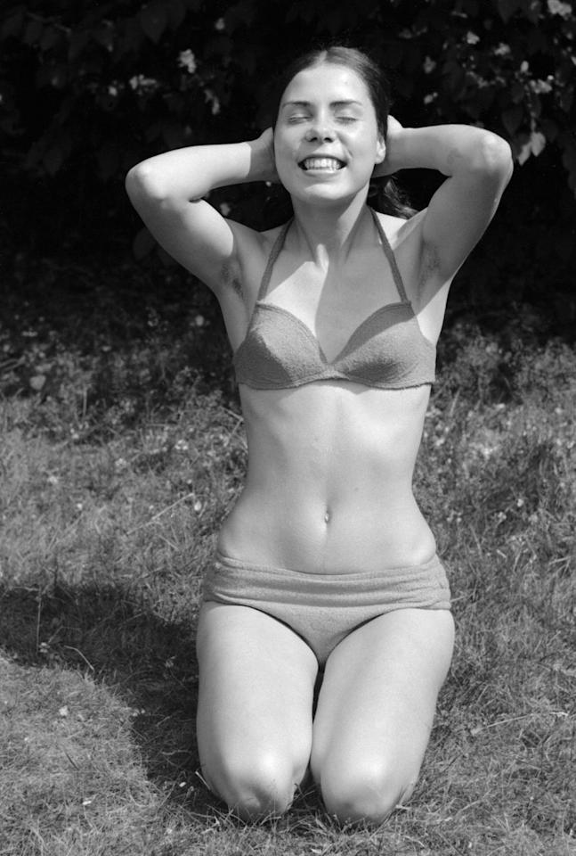 <p>Swim tops that looked like bras were a big deal in the early '70s. So were this type of fold-over bottoms.</p>