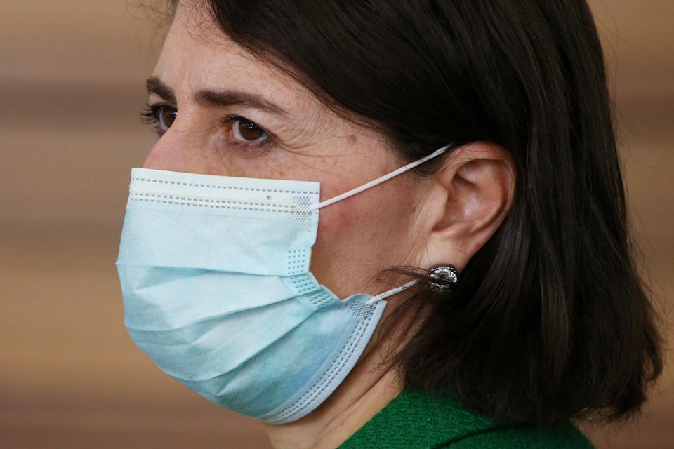 SYDNEY, AUSTRALIA - JULY 28: NSW Premier Gladys Berejiklian wears a face mask during a COVID-19 update and news conference on July 28, 2021 in Sydney, Australia. Lockdown restrictions for Greater Sydney have been extended by four weeks, to August 28th as the city struggles to contain the highly contagious Covid-19 delta variant.  (Photo by Lisa Maree Williams Pool/Getty Images)
