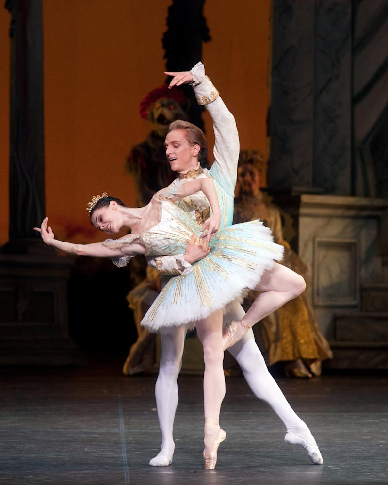 """FILE - In this June 19, 2010 file image released by the American Ballet Theater, Natalia Osipova and David Hallberg perform in """"The Sleeping Beauty,"""" in New York. Hallberg is heading for Moscow, to become a """"premier"""" dancer with the famed Bolshoi Ballet.  (AP Photo/ABT, Rosalie O'Connor)"""