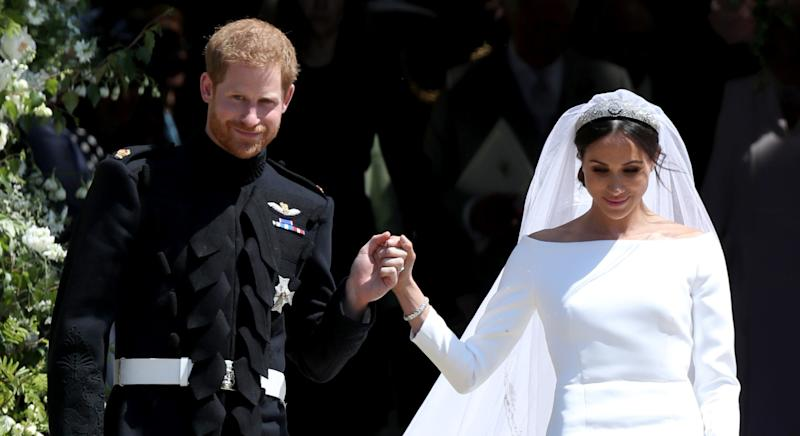 The Duchess of Sussex opted for Shellac to ensure her bridal manicure remained chip-proof (Getty Images)