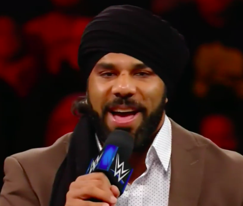 Jinder Mahal delivered a prewritten promo that was laced with racist stereotypes. (WWE)