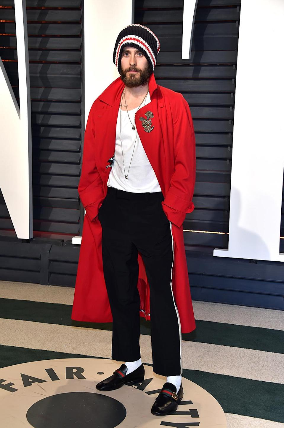 <p>Jared Leto continued his cool guy act at the <i>Vanity Fair</i> soirée. What, you thought he'd just wear a tux like everyone else? (Photo by Pascal Le Segretain/Getty Images) </p>