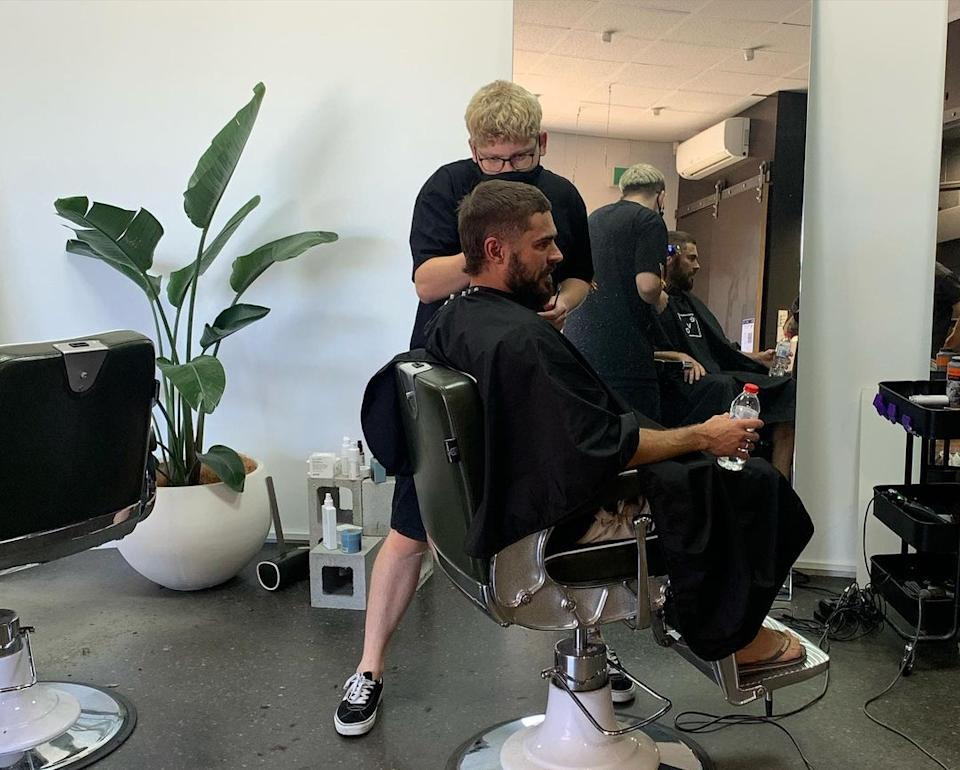 Zac Efron appears to have become an Australian after getting a mullet at Adelaide barbershop Atta Boy Hair. Photo: Instagram/Atta Boy Hair