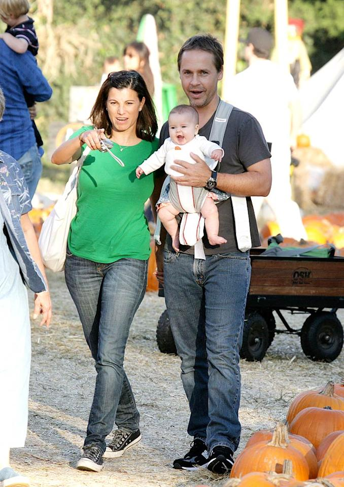 "Who needs a gourd when you've got that cute lil' pumpkin? Chad Lowe cradles his adorable daughter, Mabel, as he walks with girlfriend Kim Painter. Fabio/<a href=""http://www.x17online.com"" target=""new"">X17 Online</a> - October 24, 2009"