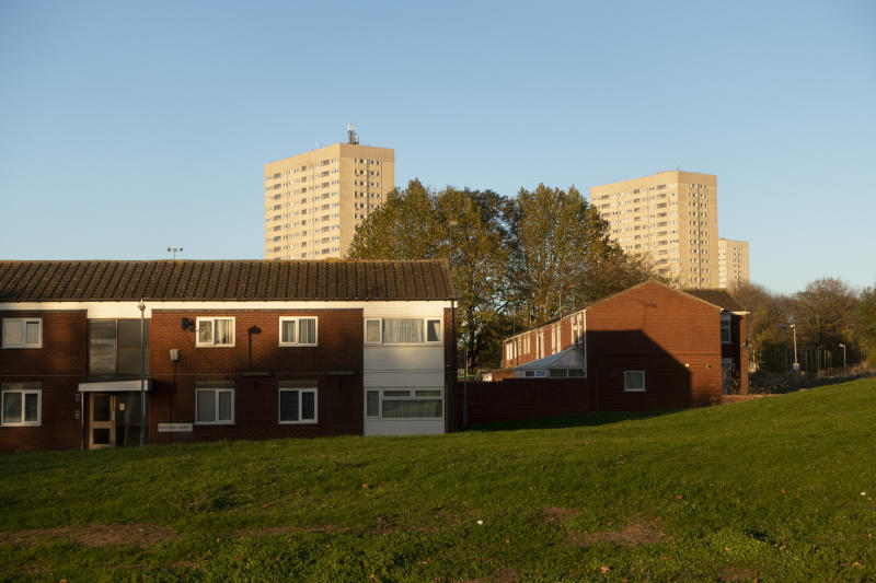 Housing estate looking towards tower blocks over at Highgate in Balsall Heath in Birmingham, United Kingdom. Balsall Heath is a working class, inner-city area of Birmingham, West Midlands, England. (photo by Mike Kemp/In PIctures via Getty Images)