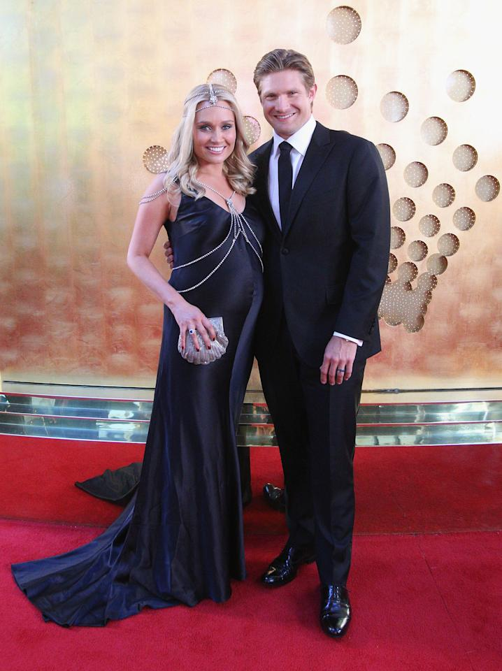 MELBOURNE, AUSTRALIA - FEBRUARY 04:  Shane Watson of Australia and his wife Lee Watson arrive at the 2013 Allan Border Medal awards ceremony at Crown Palladium on February 4, 2013 in Melbourne, Australia.  (Photo by Scott Barbour/Getty Images)