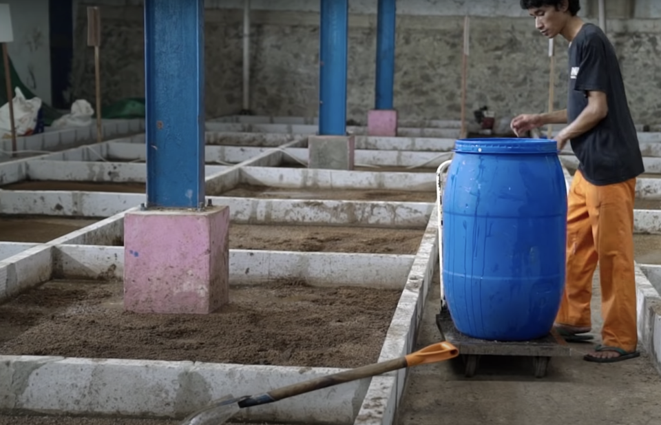 Magalarva's black soldier fly larvae production facility in Indonesia. (Screenshot from Youtube/Opini.id)