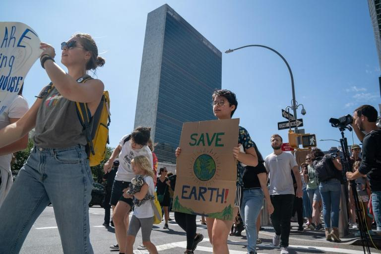 Climate activist protest near the UN headquarters on August 30 in New York