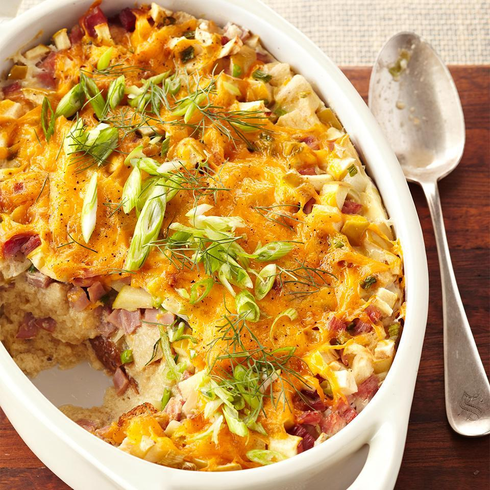 <p>This casserole featuring eggs, cheese, ham, and fennel would also make a perfect breakfast for a special day.</p>