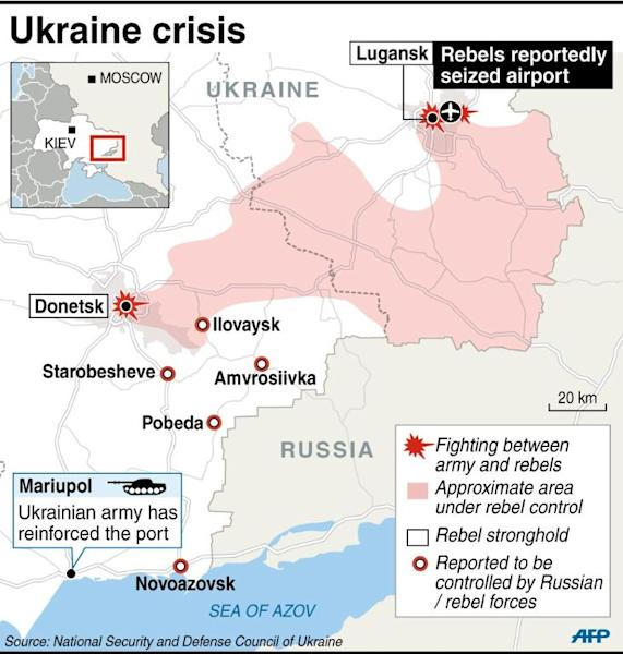 Map of Ukraine locating the latest known incidents in Ukraine up to September 1