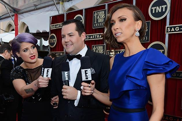 Osbourne, far left, hosts this year's Screen Actors Guild Awards red carpet
