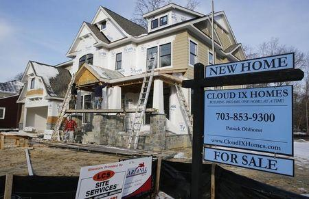 New home is being built on a street in Vienna, on the morning the National Association of Realtors issues its Pending Home Sales for February report, in Virginia