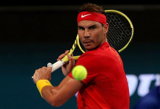 Rafael Nadal of Spain in action during his match against Pablo Cuevas of Uruguay during day 4 of the ATP Cup tennis tournament at RAC Arena in Perth, Monday, January 6, 2020