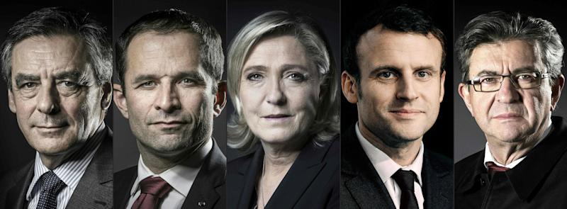 French presidential candidates left to right: François Fillon, BenoÎt Hamon, Marine Le Pen, Emmanuel Macron, Jean-Luc Mélenchon - Credit:  JOEL SAGET/AFP