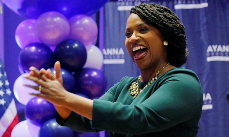 The Democratic candidate Ayanna Pressley takes the stage after winning the Democratic primary in Boston, Massachusetts.