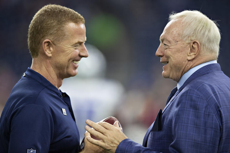 HOUSTON, TX - OCTOBER 7: Head coach Jason Garrett and owner Jerry Jones of the Dallas Cowboys talk on the field before the game against the Houston Texans at NRG Stadium on October 7, 2018 in Houston, Texans. (Photo by Wesley Hitt/Getty Images)