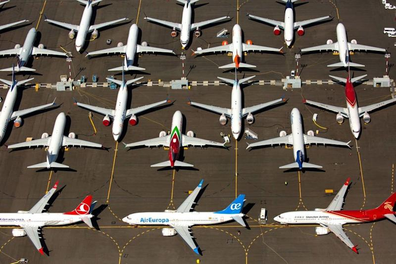 Grounded Boeing 737 MAX airplanes | David Ryder/Getty