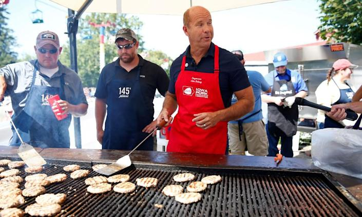 """<span class=""""element-image__caption"""">John Delaney at the Iowa state fair in Des Moines, on 9 August.</span> <span class=""""element-image__credit"""">Photograph: Eric Thayer/Reuters</span>"""