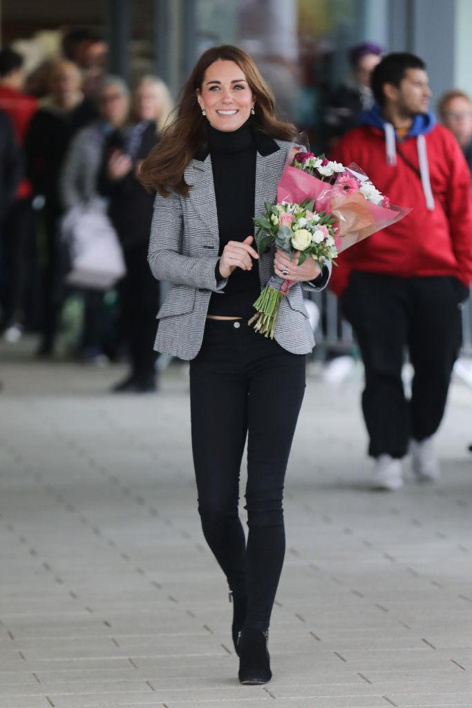 <p>On October 30, the Duchess of Cambridge attended an engagement at Basildon Sporting Village in London wearing a £700 Smythe blazer accessorised with her go-to £295 Russell & Bromley Aquatalia 'Fallon' boots. <em>[Photo: Getty]</em> </p>