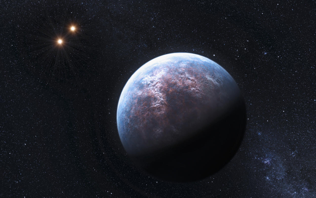 An artist's rendering image released to Reuters on October 19, 2009 shows an exoplanet 6 times the Earth-size circulating around its low-mass host star at a distance equal to 1/20th of the Earth-Sun distance. The host star is a companion to two other low-mass stars, which are seen here in the distance (L).  European astronomers announced they had found 32 new planets orbiting stars outside our solar system and said on Monday they believe their find means that 40 percent or more of Sun-like stars have such planets.  REUTERS/ESO/L. Calcada/Handout