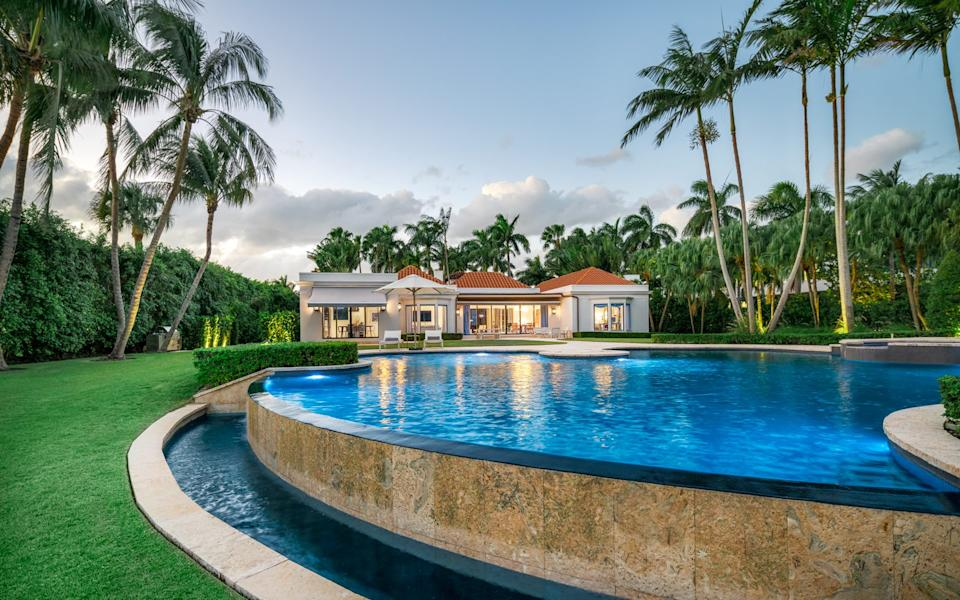 The large private pool area at Indian Creek's only property currently for sale
