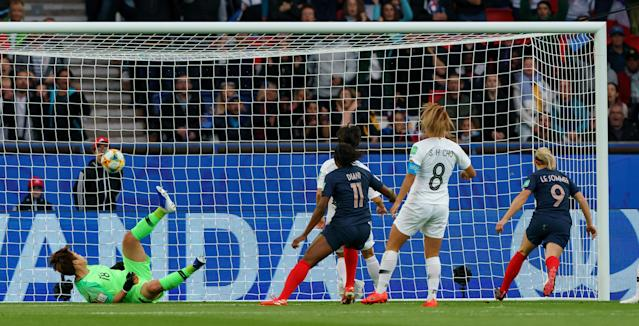 Eugenie Le Sommer of France scores his team's first goal during the 2019 FIFA Women's World Cup France group A match between France and Korea Republic at Parc des Princes on June 7, 2019 in Paris, France. (Photo by TF-Images/Getty Images)