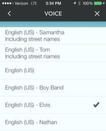 Waze Voice menu