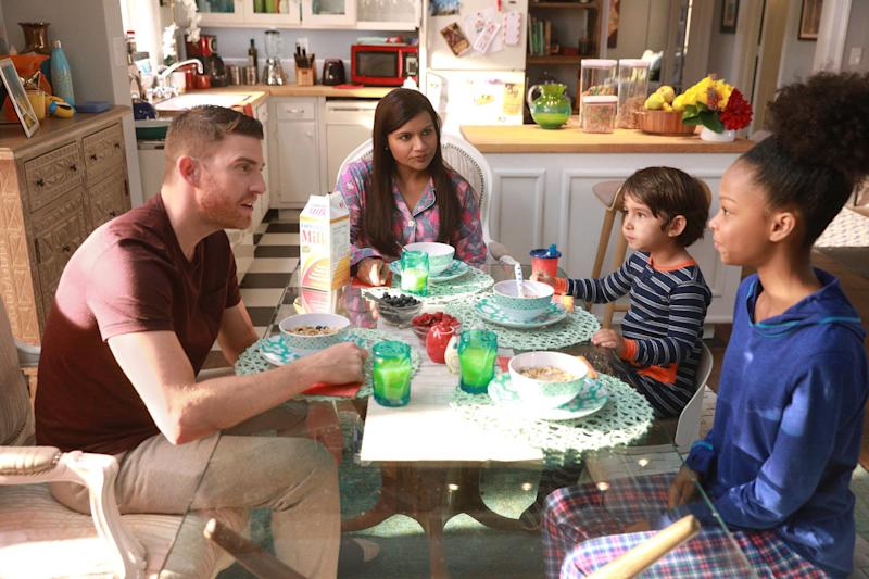 "A still from ""Is That All There Is?"", Episode 601, featuring Dr. Mindy Lahiri (Mindy Kaling), Leo (Elias Janssen), Lindsay (Brianna Reed), and Ben (Bryan Greenberg). (Jordin Althaus)"