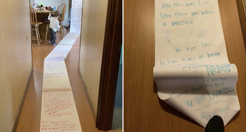 A 15-metre note is pictured in the hallway of a house.