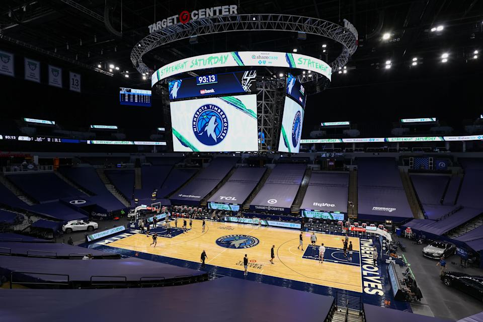 MINNEAPOLIS, MN - JANUARY 09: A general view of Target Center prior to the game against the Minnesota Timberwolves and San Antonio Spurs on January 9, 2021 in Minneapolis, Minnesota. NOTE TO USER: User expressly acknowledges and agrees that, by downloading and or using this photograph, User is consenting to the terms and conditions of the Getty Images License Agreement.   (Photo by Harrison Barden/Getty Images)