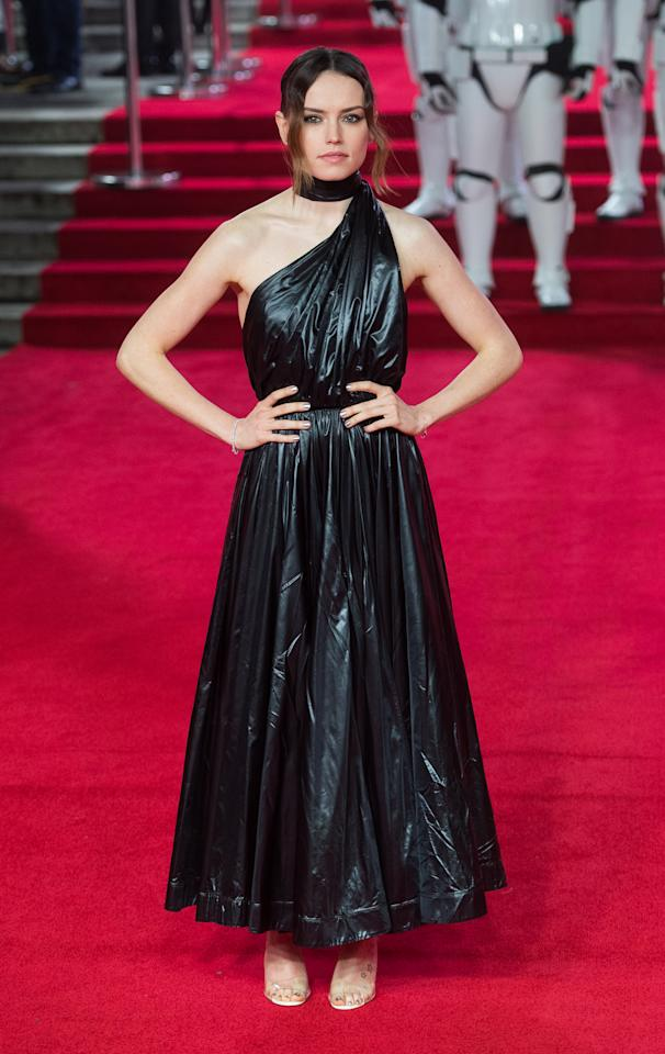 <p>Daisy seriously worked a leather collared dress by Calvin Klein. <i>[Photo: Getty]</i> </p>