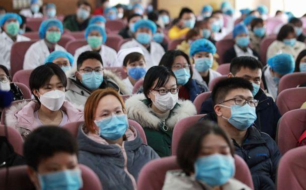 PHOTO: The members of the medical team of the people's Hospital of Northern Jiangsu were at the expedition ceremony to help Wuhan. Yangzhou, Jiangsu Province, China, Feb. 13, 2020. (Barcroft Media via Getty Images)