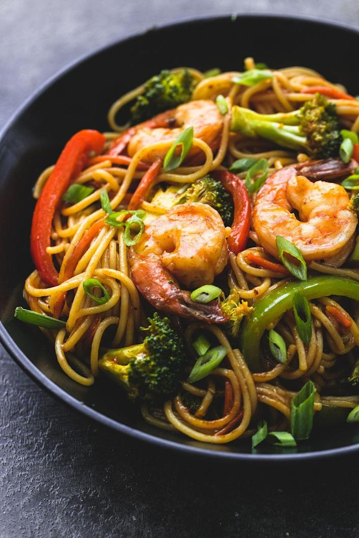 "<p>You'll be amazed by how flavorful this is. </p><p>Get the recipe from <a href=""https://www.delish.com/cooking/recipes/a53595/shrimp-broccoli-lo-mein-recipe/"" rel=""nofollow noopener"" target=""_blank"" data-ylk=""slk:Delish"" class=""link rapid-noclick-resp"">Delish</a>.</p>"