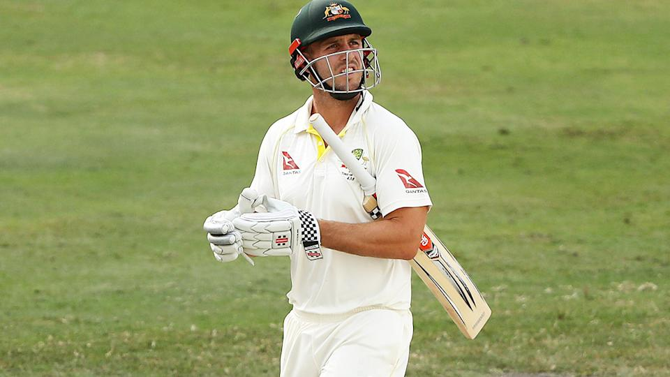 Mitch Marsh, pictured here leaving the field after being dismissed against Pakistan in 2018.
