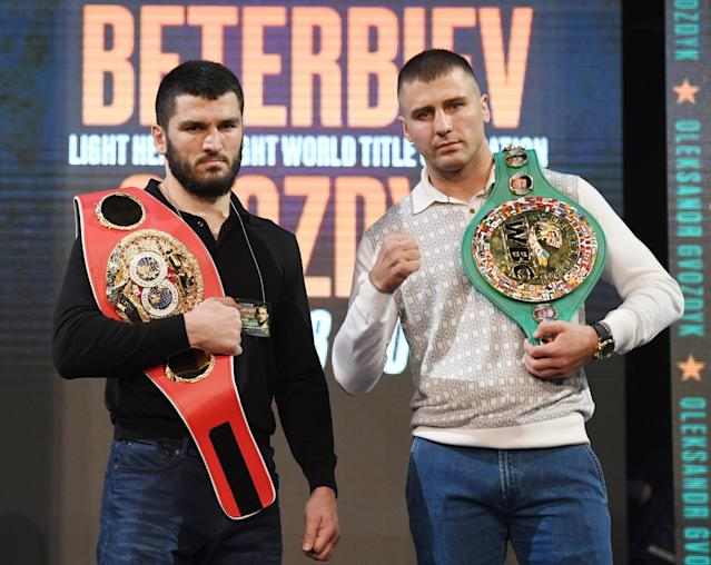 IBF light heavyweight champion Artur Beterbiev (L) and WBC light heavyweight champion Oleksandr Gvozdyk will meet in a light heavyweight unification title fight on Oct. 18 in Philadelphia. (Ethan Miller/Getty Images)