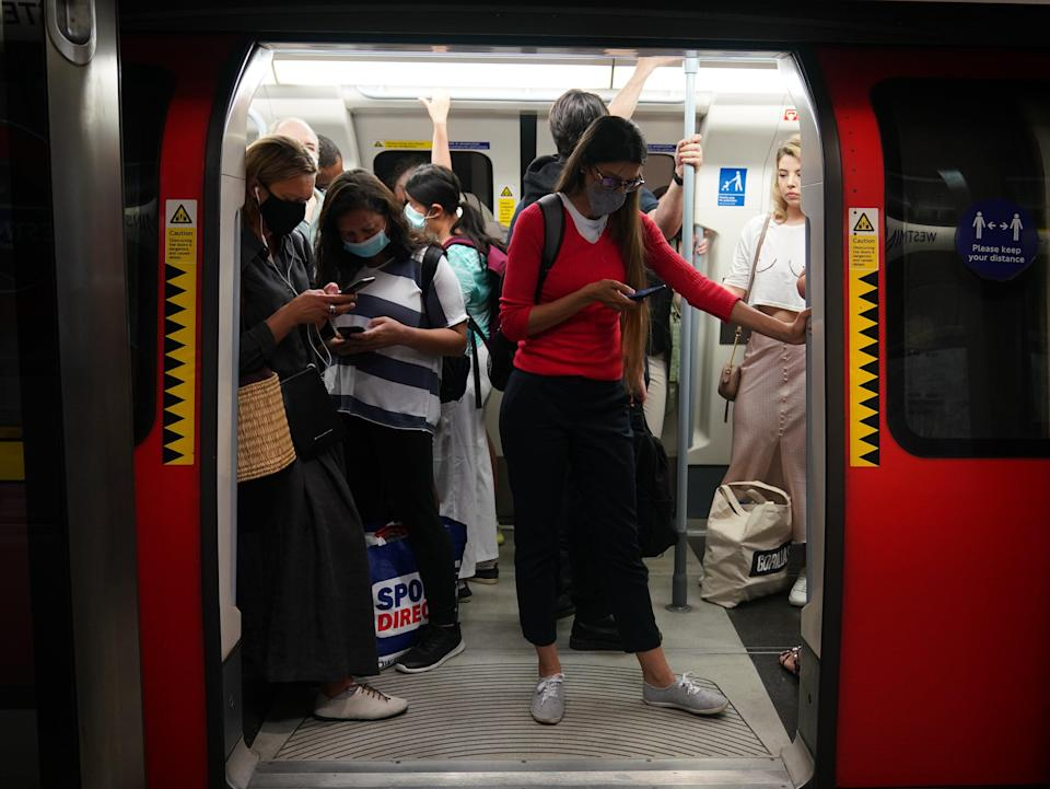 Passengers on a Jubilee line Tube (PA Wire)