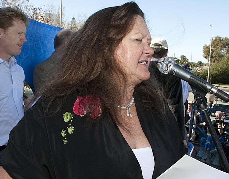 Australia's richest person, Gina Rinehart speaks at a rally in Perth, in June 2010