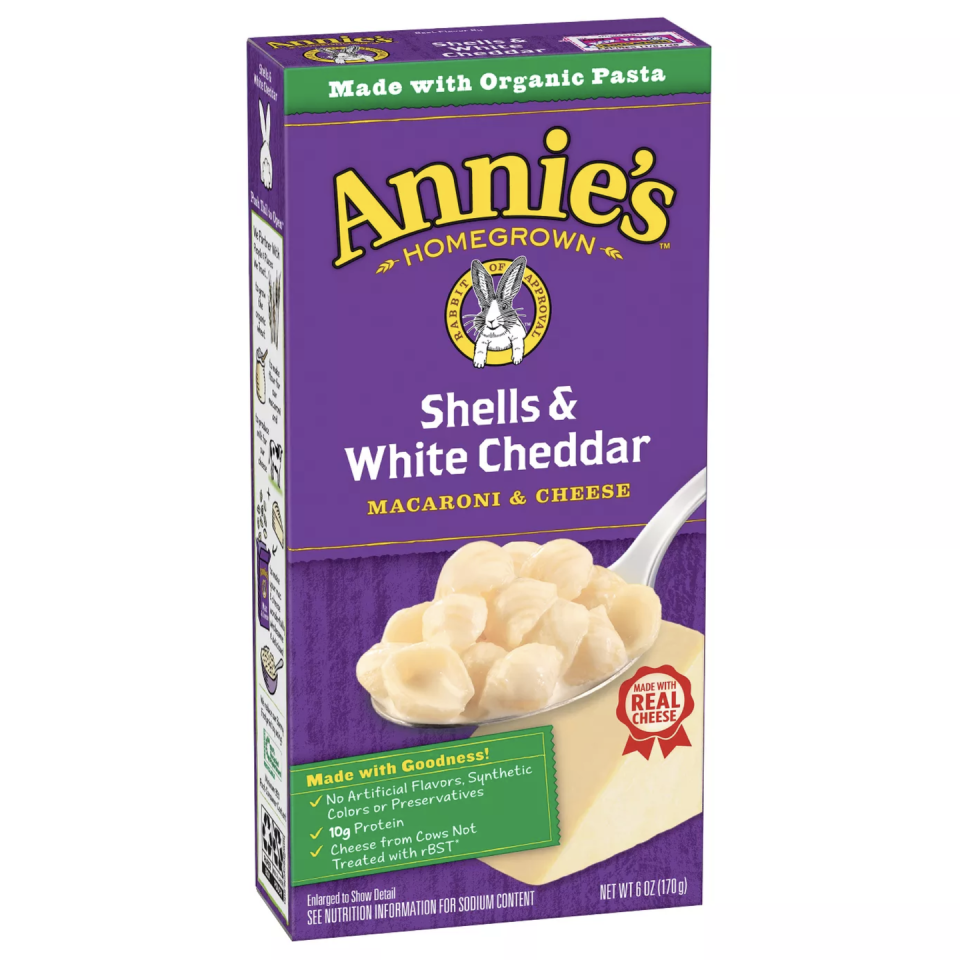 """<p>Annie Withey, co-founder of Annie's, wanted to create a dish that used real cheese. Surprisingly, many options on the market are actually artificial. Annie's signature flavor, <a href=""""https://www.annies.com/product/shells-white-cheddar-mac-cheese/?gclsrc=aw.ds&gclid=Cj0KCQjw1ouKBhC5ARIsAHXNMI_tDcPo7CzAPMfljMPWw7g4aLcHzssb-94nAtEPXpttEEMsEzExZCkaAh-6EALw_wcB"""" rel=""""nofollow noopener"""" target=""""_blank"""" data-ylk=""""slk:Shells & White Cheddar"""" class=""""link rapid-noclick-resp"""">Shells & White Cheddar</a> is so well done, you wouldn't think it came from a box. The organic shells are a fun departure from the common elbow noodles easier to eat with a fork. </p>"""