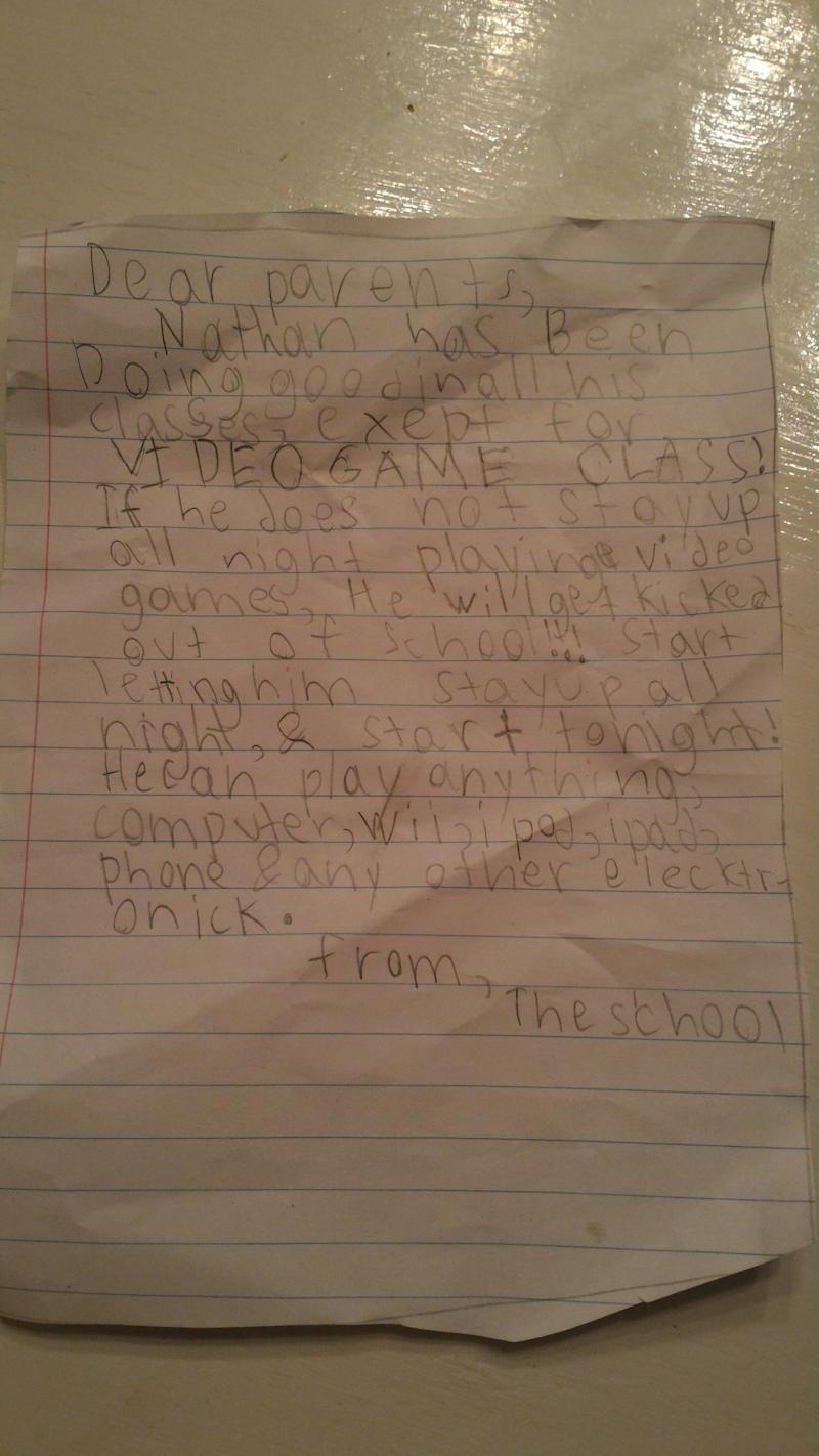 The letter allegedly sent by the school to Nathan's mother
