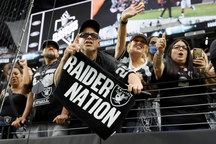 Raiders fans filled Allegiant Stadium for a Week 1 game against the Ravens. (Photo by Ethan Miller/Getty Images)