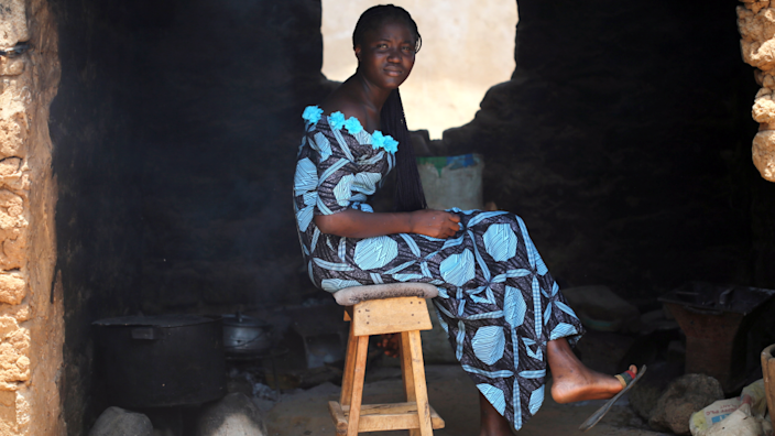 Joy Paul Kurmi, a student from the Federal College of Forestry Mechanization, sits in her kitchen in Kaduna, Nigeria - Friday 21 May 2021
