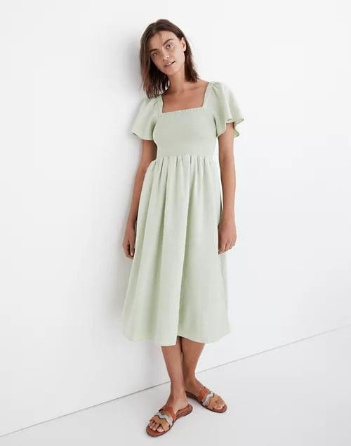 <p>This <span>Madewell Linen-Blend Lucie Smocked Midi Dress</span> ($118) comes in the prettiest green hue.</p>