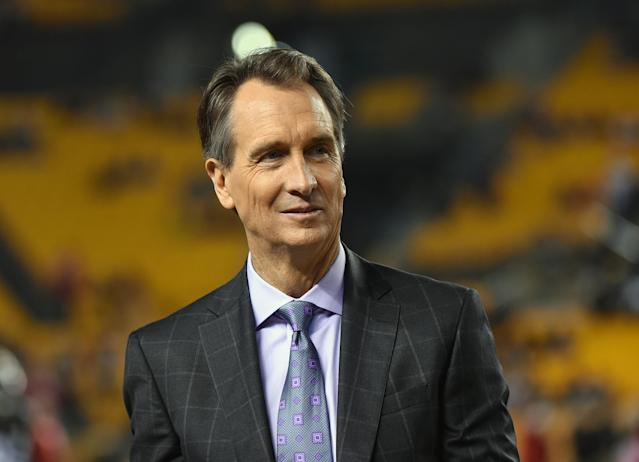 Cris Collinsworth was Al Michaels' broadcast partner for the Super Bowl on NBC. (Getty)