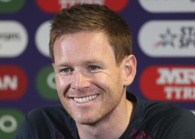 England's captain Eoin Morgan smiles during a press conference ahead of their Cricket World Cup match against India at Edgbaston in Birmingham, England, Saturday, June 29, 2019. (AP Photo/Aijaz Rahi)