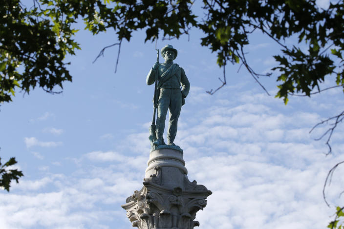 The Confederate Soldiers & Sailors Monument is shown in Libby Hill Park Wednesday July 8, 2020, in Richmond, Va. The statue is one of several that will be removed by the city as part of the Black Lives Matter reaction. (AP Photo/Steve Helber)