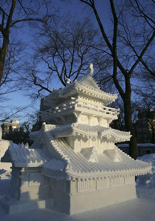 A snow sculpture is displayed at the Sapporo Snow Festival.