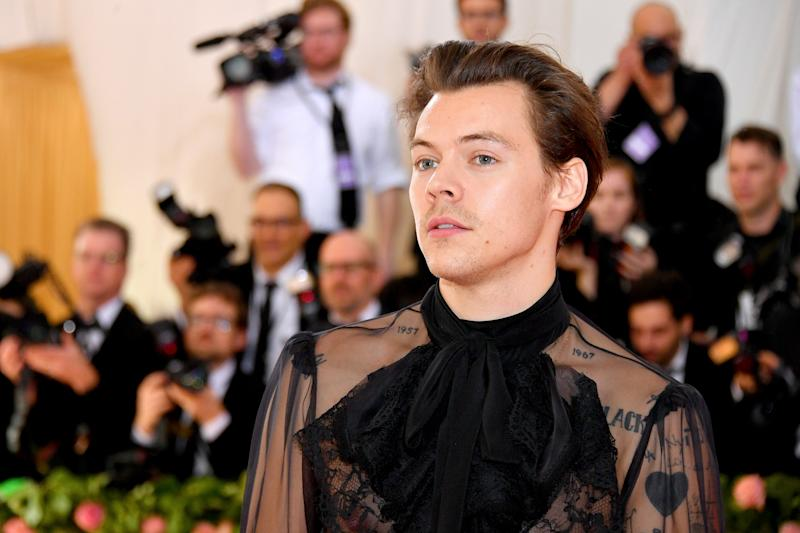 NEW YORK, NEW YORK - MAY 06: Harry Styles attends The 2019 Met Gala Celebrating Camp: Notes on Fashion at Metropolitan Museum of Art on May 06, 2019 in New York City. (Photo by Dia Dipasupil/FilmMagic)