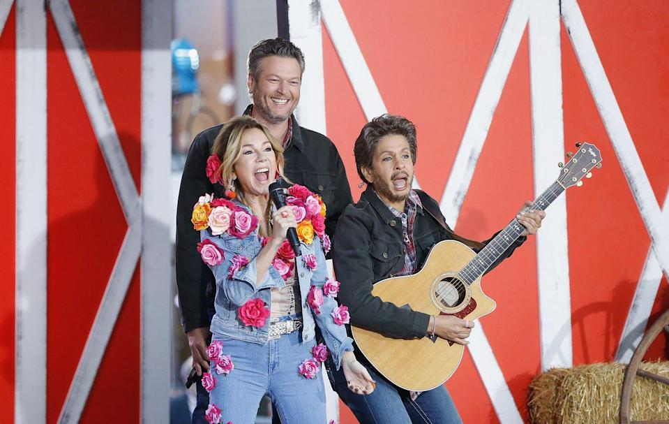 <p>With the Grand Ole Opry (or what looks like it!) as the backdrop, <em>Today</em> hosts sang their country hearts out as a special ode to the heartfelt music genre we all adore. Kathie Lee Gifford wore a spot-on flower-filled outfit that Miley Cyrus wore on <em>The Voice </em>while Hoda Kotb <em>obviously</em> dressed up as her celeb crush Blake Shelton, who was also on-hand for the celebration. </p>