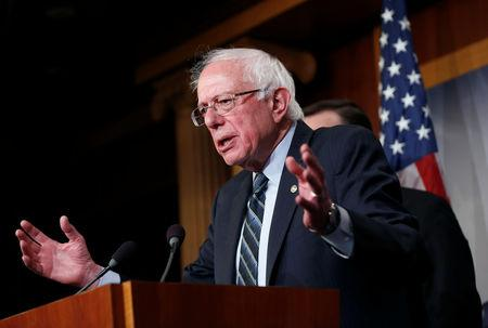 FILE PHOTO: Senator Bernie Sanders (I-VT) speaks after the senate voted on a resolution ending U.S. military support for the war in Yemen on Capitol Hill in Washington, U.S., December 13, 2018.      REUTERS/Joshua Roberts