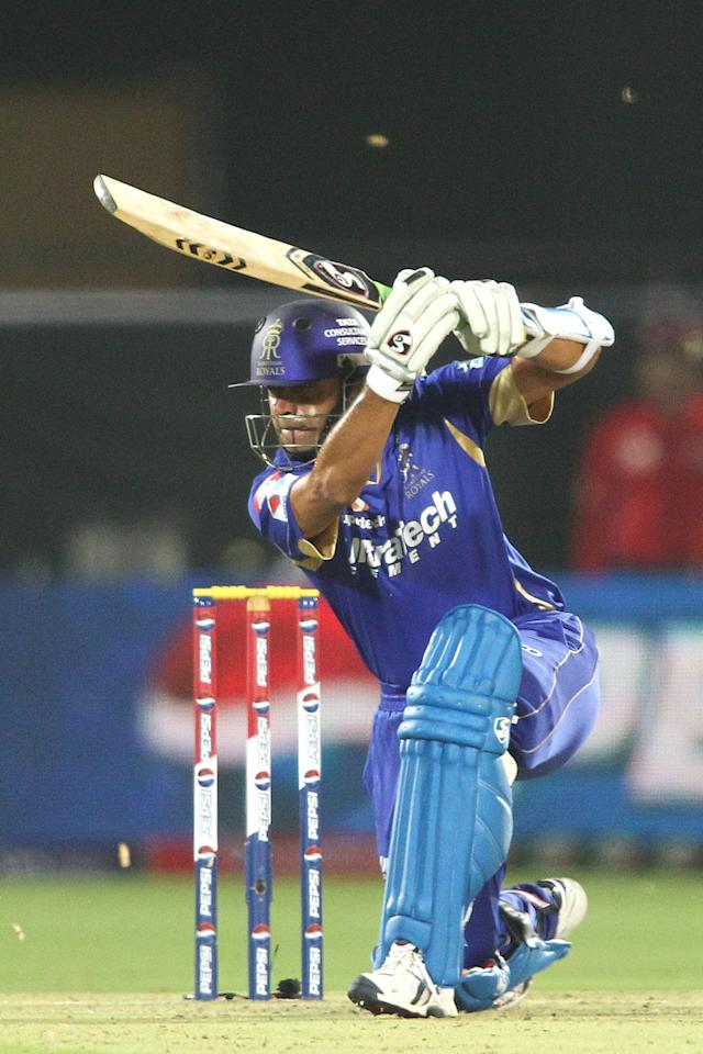 Rajasthan Royals captain Rahul Dravid drives a delivery to the boundary during match 8 of the the Pepsi Indian Premier League ( IPL) 2013 between The Rajasthan Royals and the Kolkata Knight Riders held at the Sawai Mansingh Stadium in Jaipur on the 8th April 2013..Photo by Shaun Roy-IPL-SPORTZPICS..Use of this image is subject to the terms and conditions as outlined by the BCCI. These terms can be found by following this link:..https://ec.yimg.com/ec?url=http%3a%2f%2fwww.sportzpics.co.za%2fimage%2fI0000SoRagM2cIEc&t=1493049492&sig=M8_qIpriv5bpcnfReBBbOw--~C